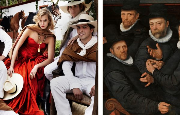 11. (L) Karlie Kloss, Lima, American Vogue, 2014; (R) Six Wardens of the Drapers' Guild, Pieter Pietersz. (I), 1599